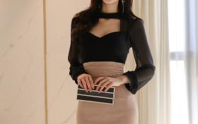 [Ligui丽柜] 腿模敏儿肉丝配黑帘包臀裙,性感诱惑,气质美美的